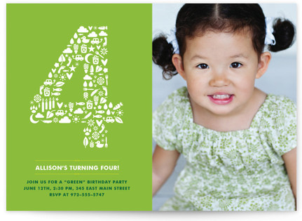 A Green Party Children's Birthday Party Invitations