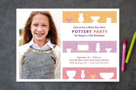 Pre-Teen Pottery Party Children's Birthday Party Invitations