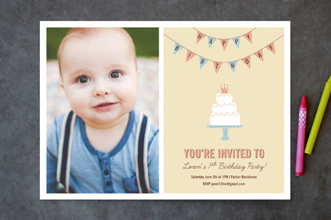 Cake and Banner Children's Birthday Party Invitations