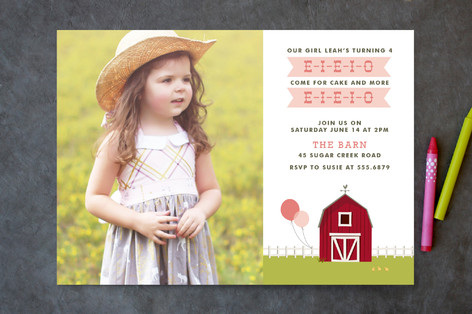E I E I O Children's Birthday Party Invitations