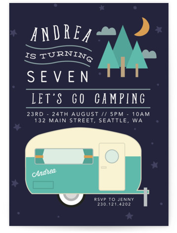 Retro Camper Children's Birthday Party Invitations