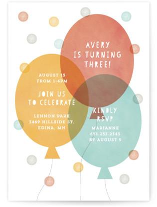 Big Balloons Children's Birthday Party Invitations