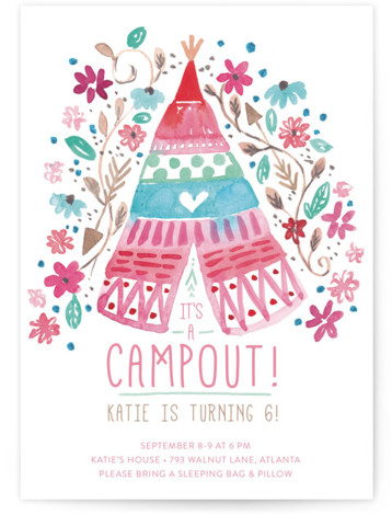 Teepee Party Children's Birthday Party Invitations