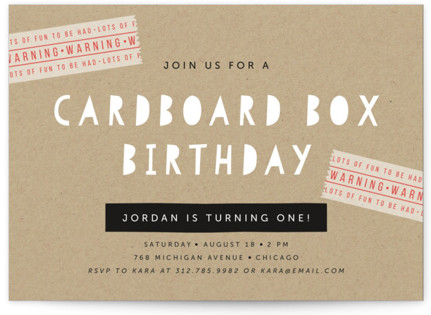 Cardboard Box Children's Birthday Party Invitations