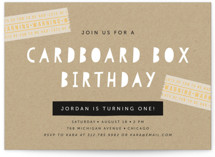 Cardboard Box Children's Birthday Party Invitations