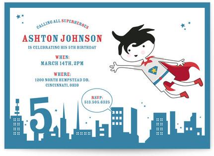 superhero Children's Birthday Party Invitations
