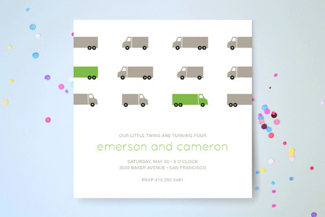 Truck Parade Children's Birthday Party Invitations