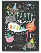 Party Hat Animals Kids Party Invitations