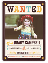 Wanted Poster Children's Birthday Party Invitations
