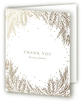 Botanical Filigree Foil-Pressed Children's Birthday Party Thank You Cards