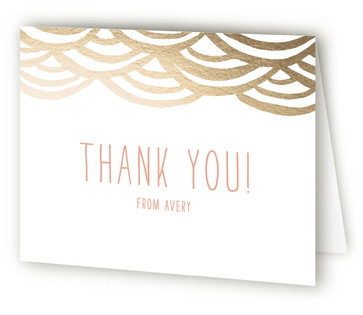 Watercolor Bunting Foil-Pressed Children's Birthday Party Thank You Cards