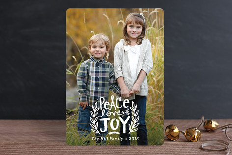 Peace Love and Joy Branches Christmas Photo Cards