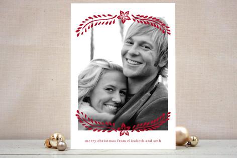 Block Printed Mistletoe Christmas Photo Cards