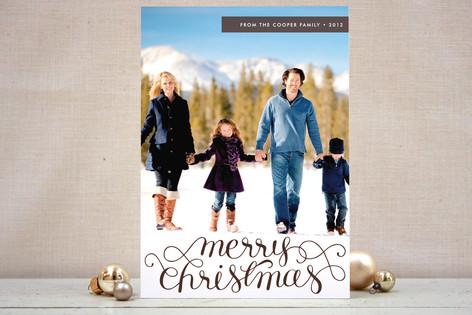 Merry Christmas Swirl Overlay Text Christmas Photo Cards