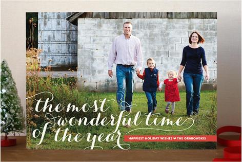 Wonderful Script Christmas Photo Cards