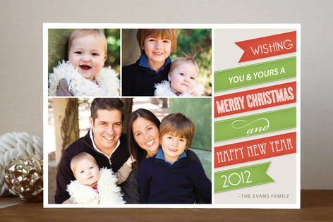 Holiday Ribbon Christmas Photo Cards