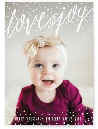 Snowy Love and Joy Christmas Photo Cards