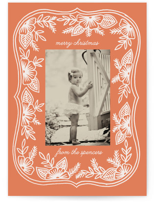 Vintage Floral Frame Christmas Photo Cards
