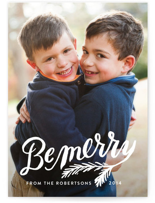 Be Merry Pine Branch Christmas Photo Cards