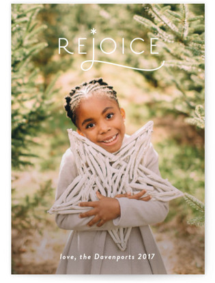 Simple Rejoice Christmas Photo Cards