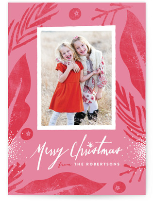 Merry Floral Frame Christmas Photo Cards