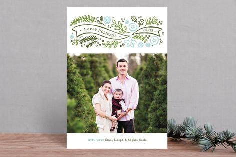 Woodcut Winter Pine Christmas Photo Cards