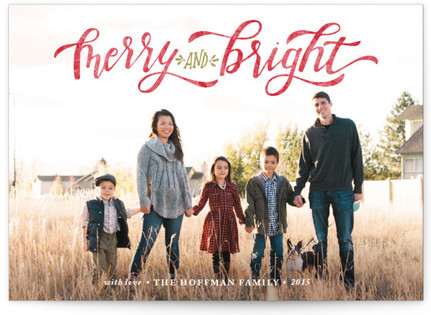 Merry & Bright Hand Lettered Christmas Photo Cards