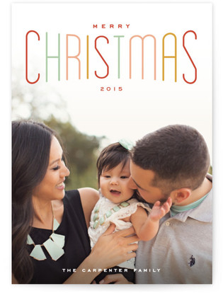 Colorful Holiday Type Christmas Photo Cards