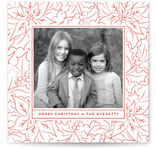 Elegant Poinsettia Christmas Photo Cards