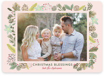 Winter Foliage Frame Christmas Blessings
