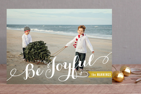 Joyful Script Christmas Photo Cards
