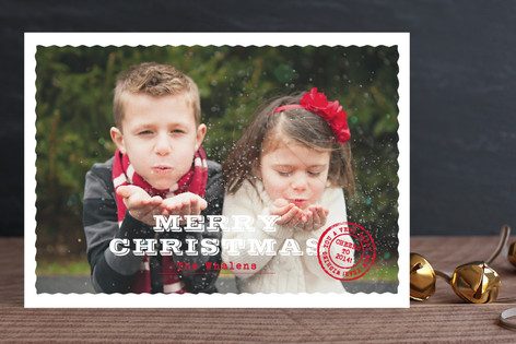 Deckled Post Christmas Photo Cards