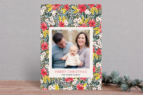 A Holiday Floral Christmas Photo Cards