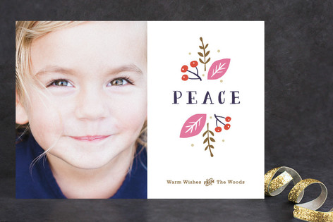 Organic Peace Christmas Photo Cards