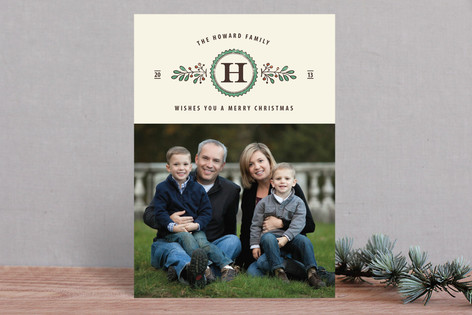 Family Monogram Christmas Photo Cards