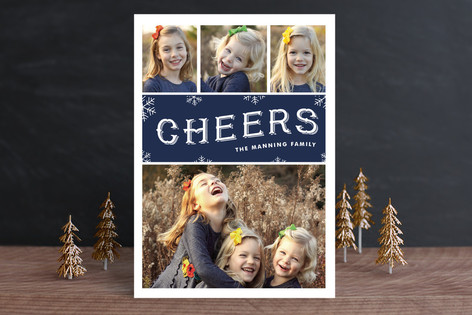 Cheerful Snowfall Christmas Photo Cards