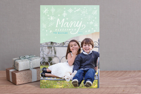 Dipped Snowflakes Christmas Photo Cards