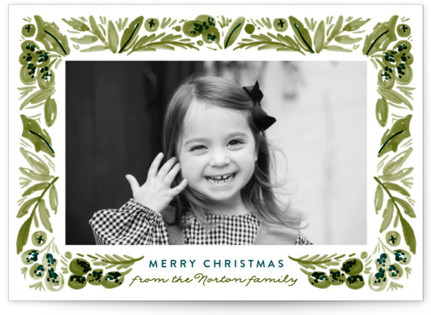Painted Foliage Frame Christmas Photo Cards