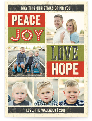 Wood Type Poster Christmas Photo Cards