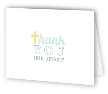 Shades Of Blue Baptism and Christening Thank You Cards