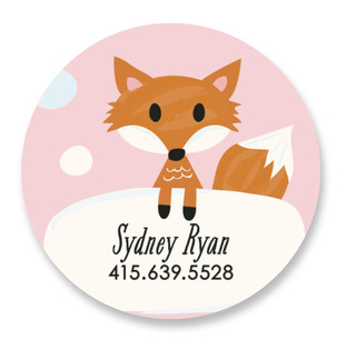 Fox Friend Custom Name Label