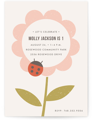 The Flower and the Ladybug Children's Birthday Party Postcards