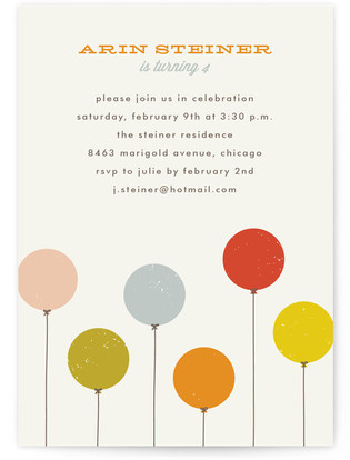 Colorful Balloons Children's Birthday Party Postcards