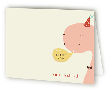Blowing Balloon Brontosaurus Children's Birthday Party Thank You Cards