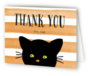 Striped Cat Childrens Birthday Party Thank You Cards