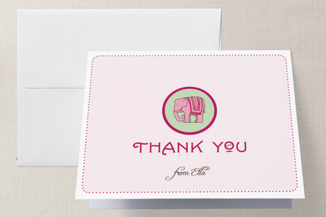 Girly Elephant Childrens Birthday Party Thank You Cards