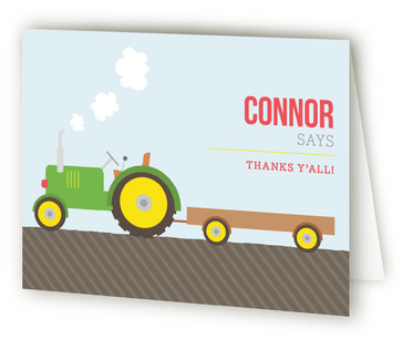 Tractor Time Children's Birthday Party Thank You Cards