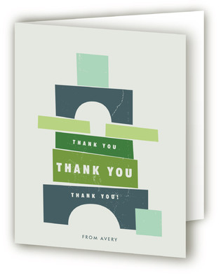 Stacking Blocks Children's Birthday Party Thank You Cards