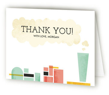 Mod Conductor Children's Birthday Party Thank You Cards