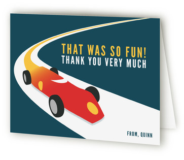 Vintage Race Car Children's Birthday Party Thank You Cards